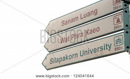 Signage of Wat Phra Kaeo Sanam Luang landmark of Bangkok Thailand