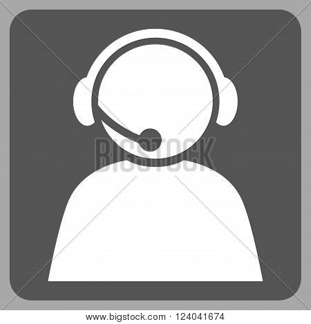 Call Center Operator vector pictogram. Image style is bicolor flat call center operator iconic symbol drawn on a rounded square with dark gray and white colors.