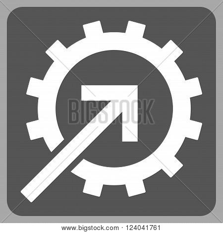 Cog Integration vector pictogram. Image style is bicolor flat cog integration icon symbol drawn on a rounded square with dark gray and white colors.