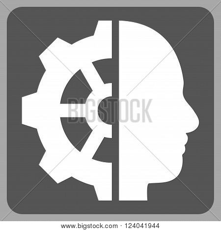 Cyborg Gear vector icon symbol. Image style is bicolor flat cyborg gear pictogram symbol drawn on a rounded square with dark gray and white colors.