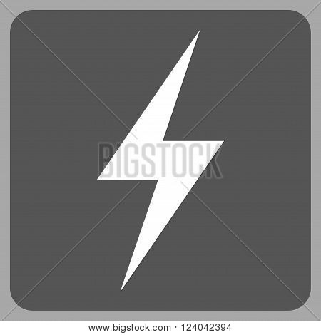 Electricity vector icon symbol. Image style is bicolor flat electricity pictogram symbol drawn on a rounded square with dark gray and white colors.