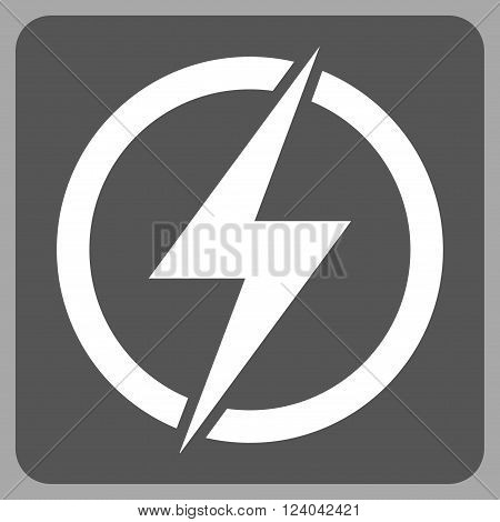 Electricity vector icon. Image style is bicolor flat electricity iconic symbol drawn on a rounded square with dark gray and white colors.