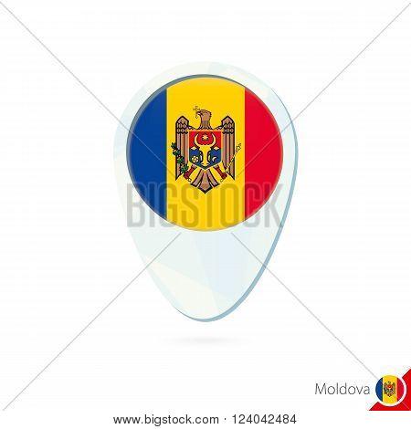 Moldova Flag Location Map Pin Icon On White Background.