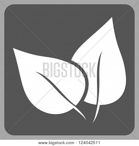 Flora Plant vector icon. Image style is bicolor flat flora plant pictogram symbol drawn on a rounded square with dark gray and white colors.