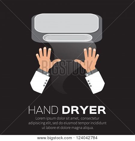 Hand Air Dryer In Public Toilet or Washrooms.
