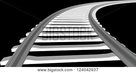 Vector White sleepers and rails on a white background 3D RENDER