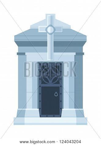 Tombstone crypt vector construction isolated on white background. Traditional tomb stone grave for dead people. Some tomb crypt graveyard memorial symbol.