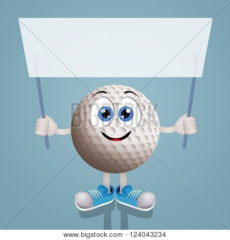 Funny illustration of smiling golf ball with sign