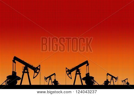 Silhouette of three oil pumps at orange background. Oil field at sunset.