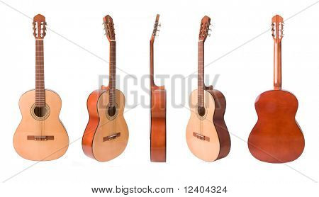 Classical acoustic guitars set  isolated on white