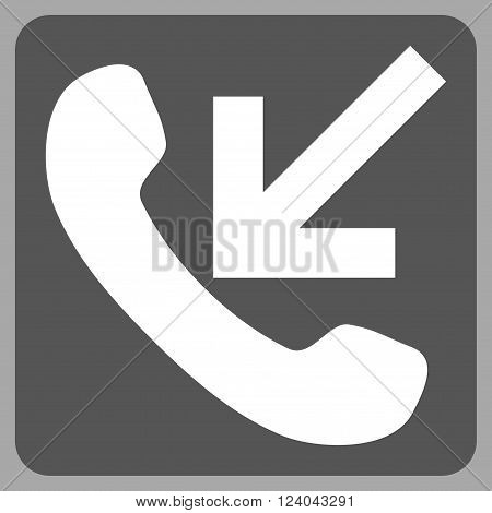 Incoming Call vector pictogram. Image style is bicolor flat incoming call icon symbol drawn on a rounded square with dark gray and white colors.