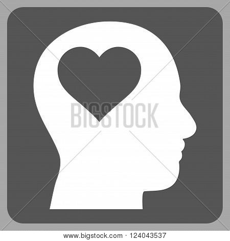 Lover Head vector symbol. Image style is bicolor flat lover head pictogram symbol drawn on a rounded square with dark gray and white colors.