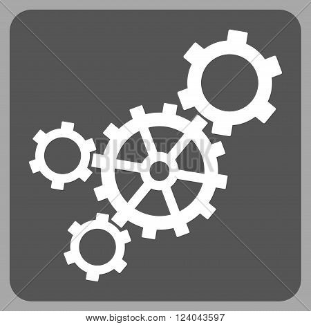 Mechanism vector symbol. Image style is bicolor flat mechanism iconic symbol drawn on a rounded square with dark gray and white colors.