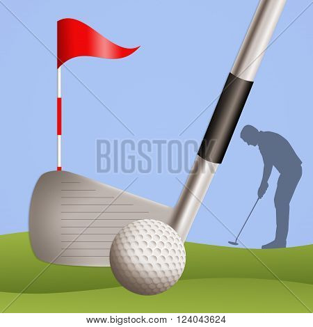 an illustration of Golfer silhouette with golf ball