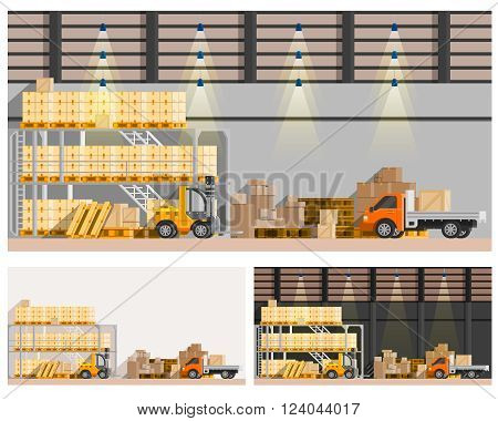 Warehouse orthogonal compositions set with van and loader flat isolated vector illustration