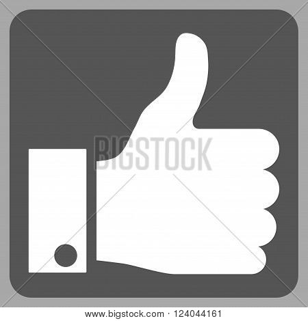 Thumb Up vector icon symbol. Image style is bicolor flat thumb up icon symbol drawn on a rounded square with dark gray and white colors.