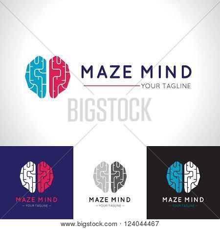 Social relationship template flat poster with big maze mind logo and other different colors concepts vector illustration