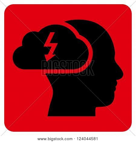 Brainstorming vector icon. Image style is bicolor flat brainstorming iconic symbol drawn on a rounded square with intensive red and black colors.