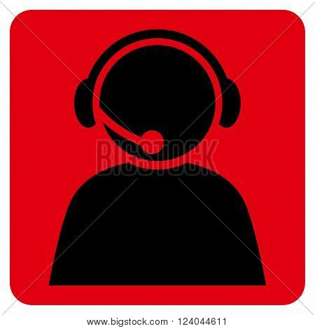 Call Center Operator vector icon. Image style is bicolor flat call center operator iconic symbol drawn on a rounded square with intensive red and black colors.
