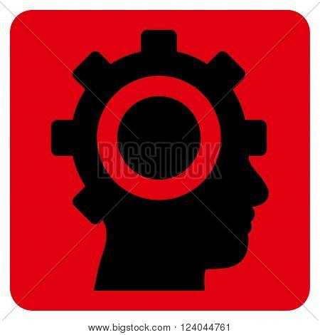 Cyborg Gear vector pictogram. Image style is bicolor flat cyborg gear pictogram symbol drawn on a rounded square with intensive red and black colors.