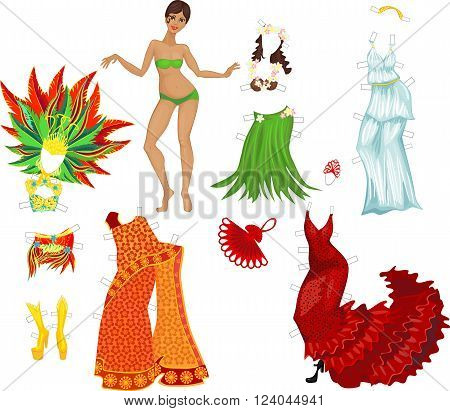 Paper doll. Girl and various dance costumes