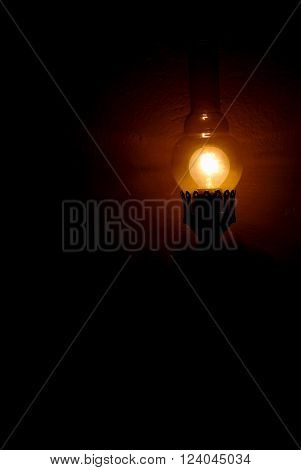 Dim light of lamp. Conception of loneliness solitude. Conception,