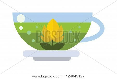 Green tea cup vector illustration. Hot cup with green tea and green leaves. Green tea healthy drink. Fresh green tea fresh hot drink.