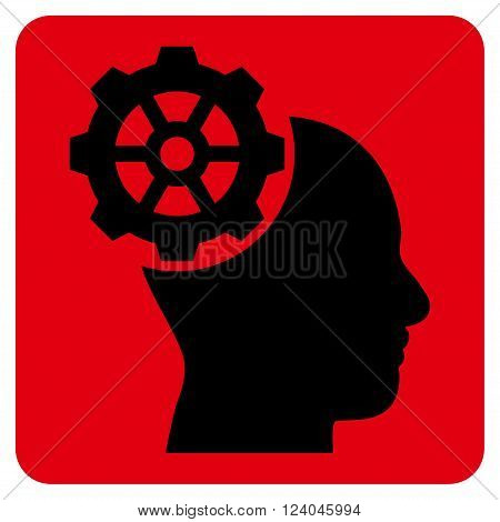 Head Gear vector symbol. Image style is bicolor flat head gear pictogram symbol drawn on a rounded square with intensive red and black colors.