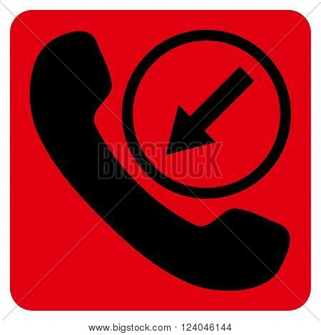 Incoming Call vector pictogram. Image style is bicolor flat incoming call pictogram symbol drawn on a rounded square with intensive red and black colors.