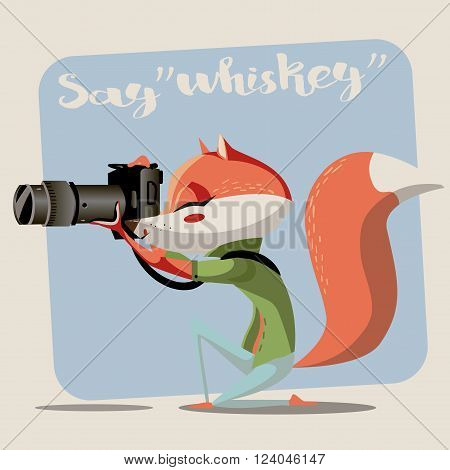 Vector illustration poster of a cartoon photographer fox