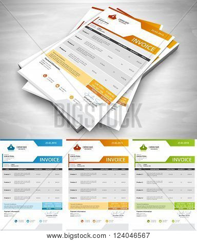 This is creative and simply invoice. Vector illustration.