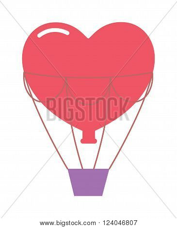 Wedding balloons romantic travel vector illustration. Love hearts couple balloons. Honeymoon travel wedding happy celebration. Honeymoon travel concept vector.