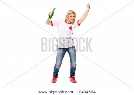 Full Length Portrait Of Excited Female Sport Fan Posing