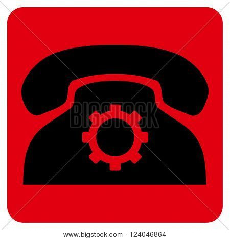 Phone Settings vector icon. Image style is bicolor flat phone settings pictogram symbol drawn on a rounded square with intensive red and black colors.