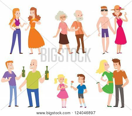 People couples, men, women, old men, boys, love set of characters flat vector illustration. Couples people. People happiness family couples. People relationships.