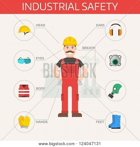 Safety industrial gear kit and tools set flat vector illustration. Industrial safety set. Body protection worker equipment elements infographic.