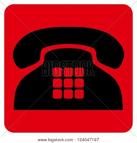 Tone Phone vector pictogram. Image style is bicolor flat tone phone icon symbol drawn on a rounded square with intensive red and black colors.