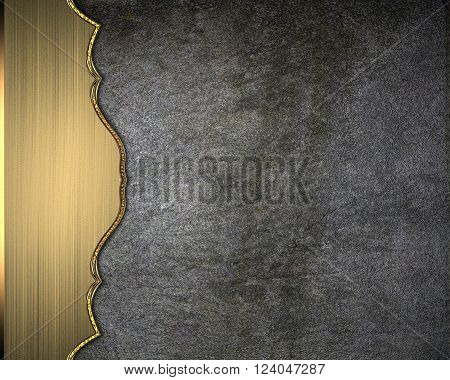 Texture of concrete wall with gold edge. Template for design. copy space for ad brochure or announcement invitation, abstract background.