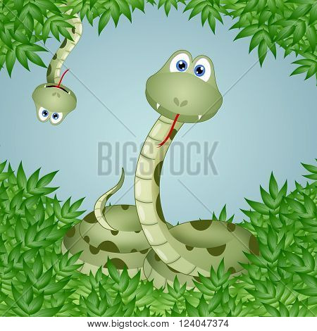 an illustration of a Funny snakes in leaves