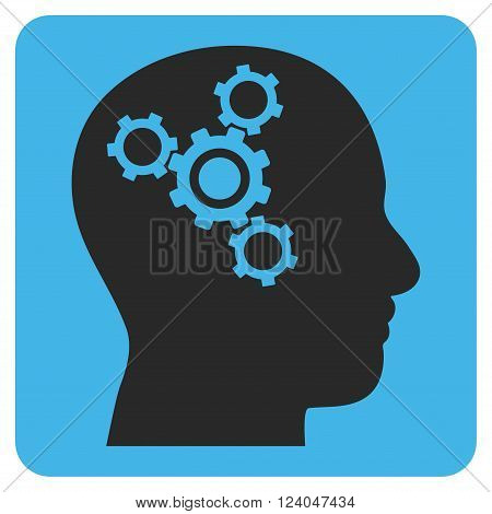 Brain Mechanics vector icon. Image style is bicolor flat brain mechanics icon symbol drawn on a rounded square with blue and gray colors.