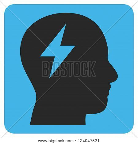 Brainstorming vector symbol. Image style is bicolor flat brainstorming iconic symbol drawn on a rounded square with blue and gray colors.
