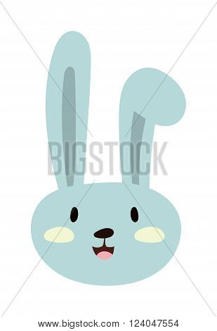 Gray easter rabbit bunny traditional symbol of spring seasonal celebration and happy bunny rabbit head. Easter Bunny cute cartoon animal flat vector illustration.