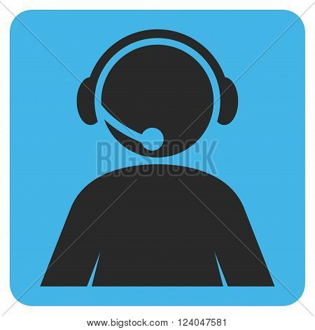 Call Center Operator vector icon symbol. Image style is bicolor flat call center operator pictogram symbol drawn on a rounded square with blue and gray colors.