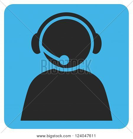 Call Center Operator vector icon symbol. Image style is bicolor flat call center operator iconic symbol drawn on a rounded square with blue and gray colors.