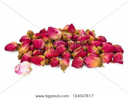 Dry Loose Tea Hibiscus Isolated on White Background Studio Photo
