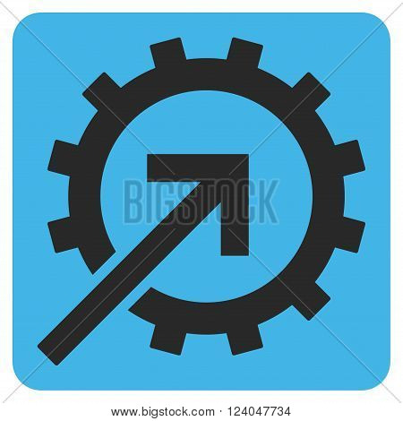 Cog Integration vector symbol. Image style is bicolor flat cog integration iconic symbol drawn on a rounded square with blue and gray colors.