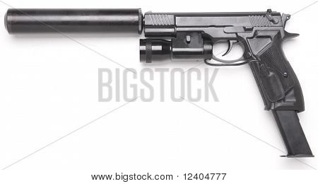 handgun with the lantern long magazine and silencer isolated on white