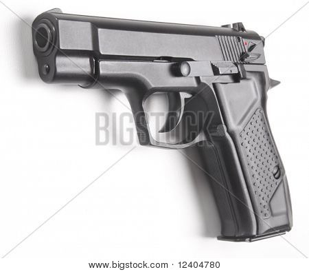 handgun close up isolated on white background