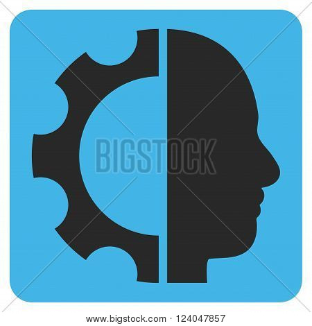Cyborg Gear vector icon. Image style is bicolor flat cyborg gear pictogram symbol drawn on a rounded square with blue and gray colors.