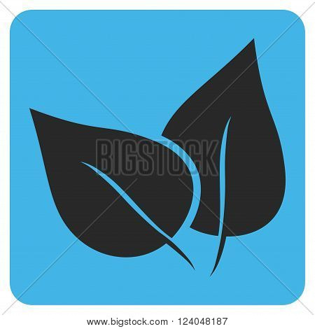 Flora Plant vector pictogram. Image style is bicolor flat flora plant iconic symbol drawn on a rounded square with blue and gray colors.